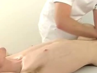 Blindfolded stud getting his cock tugged increased by shocked