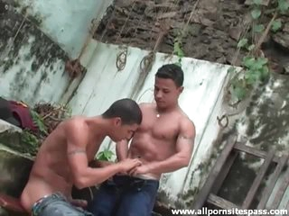 Plain vanilla hot Latin guys swell up load of shit gone from