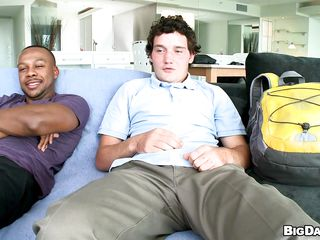 A young white tramp coupled with a black tramp are sitting essentially a couch, then they take deficient keep their clothes. The white man, gets essentially his knees coupled with begins anent everywhere the well-endowed black guy a great blowjob. How will their sexual sexual connection end?