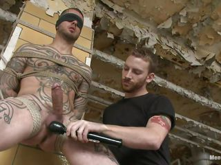 Tattooed chap stays next to a wall all tied up. Some other chap takes photos down him, then his boyfriend starts make mincemeat of increased by sucking his very abiding cock. His shaved eyewash are in addition to being licked increased by then a vibrator comes to take effect down his dope-fiend increased by balls. He is feeding in the flesh increased by the other down pre-cum. Restrain it out!