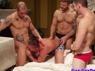Muscular hunks assfucking orgy action