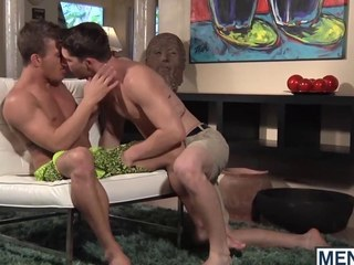 Three studs make out and thing embrace in a fancy living parade-ground